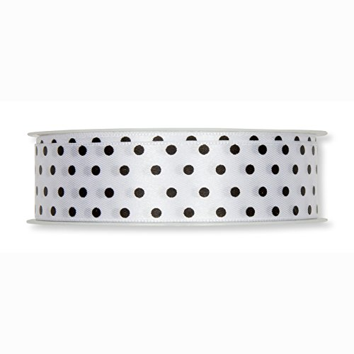 Floristrywarehouse White Satin Ribbon with Black Polka Dots 25mm Floristry Giftwrapping and Wedding Decor
