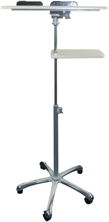 BETTY Tables ノートパソコンテーブル 家庭用小型テーブル モバイルスタンドアップデスク 高さ調整可能 コンピュータデスク ローリングプレゼンテーションカート マウストレイとユニバーサルホイール付き ホワイトメープルカラー B(83-124)CM