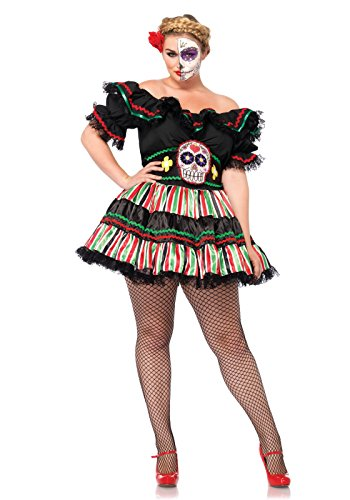 Leg Avenue Women's Plus-Size 2 Piece Day Of The Dead Doll Costume, Black/Multi-Colored, 1X/2X (Day Of The Dead Woman Halloween Costume)
