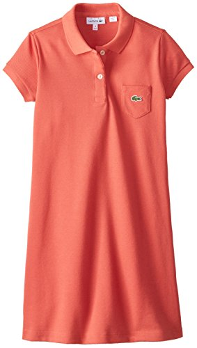 Lacoste Big Girls' Short Sleeve Classic Pique with Pocket Polo Shirt, Reef, 10