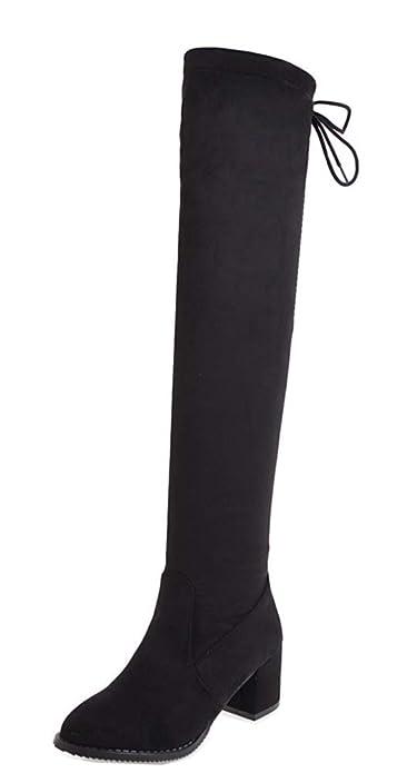 Easemax Femme Mode Tige Haute Cuissarde Talon Bloc Demoiselle Bottes Noir  34 EU 220ed8353219