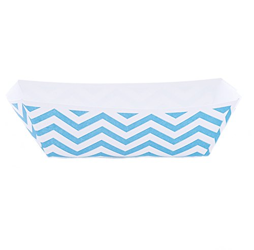 Simply Baked Small Paper Food Boat, Pack of 12, Turquoise & White Chevron, Disposable Yet Sturdy and Big Enough for Dessert, Snack or Appetizers, 5.75