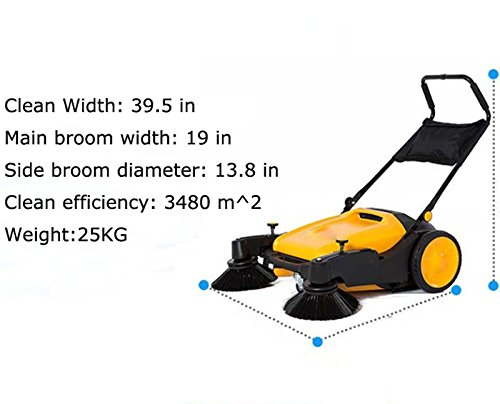 39.5'' width Triple Brush Walk-behind Sweeper Push Power Sweeper Pavement Sweeper Portable Cleaner Hard Rubber by Techtongda