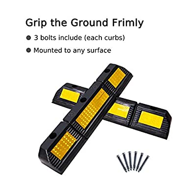 FCOME 1 Pack Heavy Duty Rubber Parking Block Parking Curb - Wheel Stop Stoppers with Yellow Reflective Stripes Targets for Car Garage Floor Stops and Truck RV Stop Aid Indoor Outdoor: Automotive