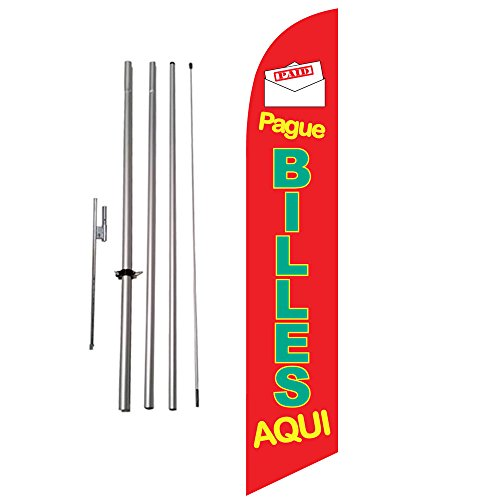 Pague Billes Aqui (red) 15ft Outdoor Advertising Feather Banner Swooper Flag Kit w/ Ground Spike