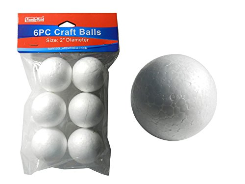 6PC Styrofoam Craft Balls, 2''Dia , Case of 96
