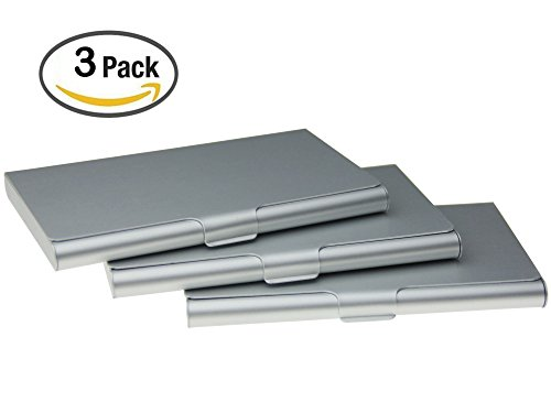 Business Card Holder Aluminum Business Name Card Credit Card Case Sliver Pack of 3(sliver)