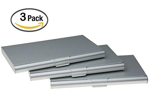 Business Card Holder Aluminum Business Name Card Credit Card Case Sliver Pack of 3(Sliver)