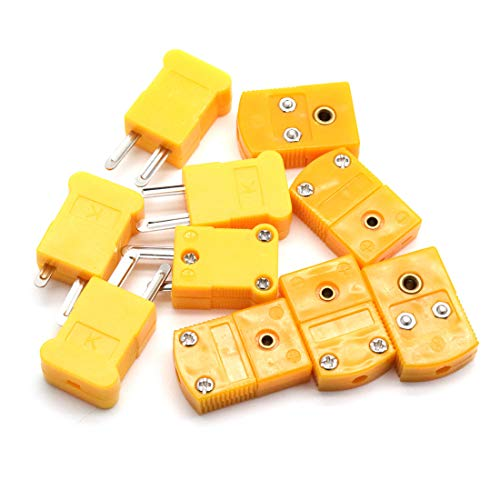 Aodesy K Type Thermocouple Connector 10Pcs 5Pairs Male and Fmale Yellow Color by Aodesy