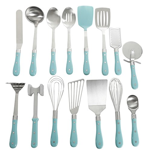 Pioneer Tool - Frontier Collection 15-Piece All In One Tool And Gadget Set In Turquoise, Made of Stainless Steel, Nylon and Riveted ABS Handles, Dishwasher Safe