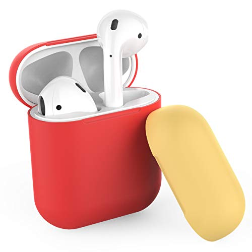 AhaStyle Duotone AirPods Case Protective Silicone Cover and Skin for Apple Airpods Charging Case(Body-Red/Top-Red,Yellow) -
