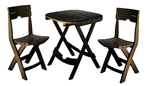 Adams Manufacturing 8590-60-3731 Quik-Fold Cafe Bistro Set, Earth Brown by Adams Manufacturing