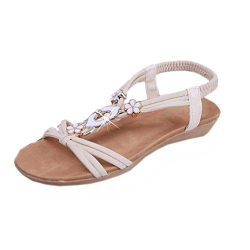 Winwintom Mujeres plana de Zapatos Dama sandalias peep toe con cuentas de Bohemia de ocio outdoor Sandals Beige