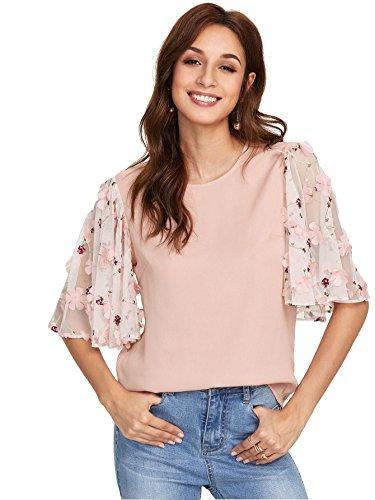 Floerns Women's Applique Mesh Ruffle Sleeve Summer Blouse Top Pink L