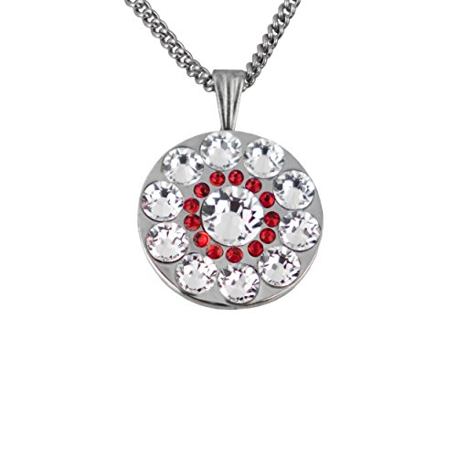 Girls Golf Bling Swarovski Crystal Golf Ball Markers with Magnetic Necklace - Premium Golf Gifts for Women (Mauna Kea Siam Red Mini) (Mauna Kea Golf Course)