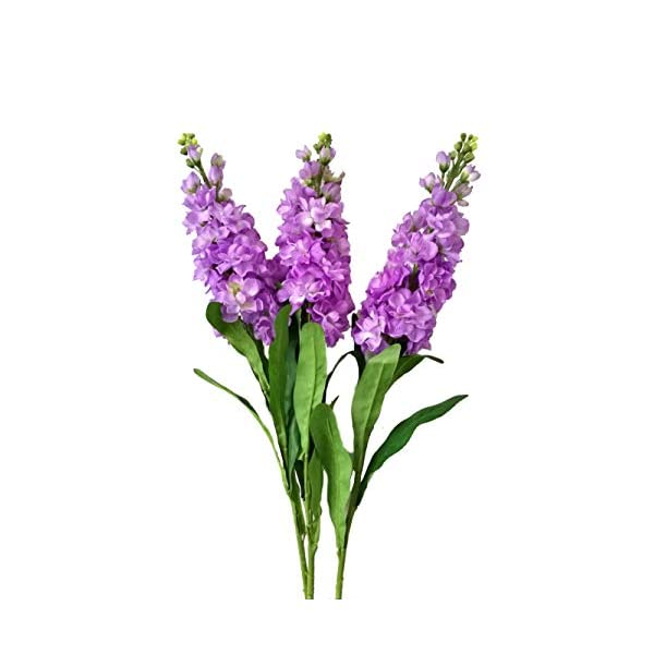 U&M2 32 inch Artificial Hyacinth Delphinium Tall Silk Flowers Branches for Home Decoration, Pack of 3
