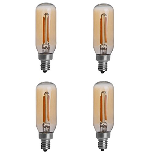 HERO-LED T8-DSGT-2W-WW22 Dimmable Gold Tint T8 E12 Candelabra Base 2W Edison Style LED Vintage Antique Filament Bulb, 25W Equivalent, Ultra Warm White 2200K (Amber Glow), 4-Pack