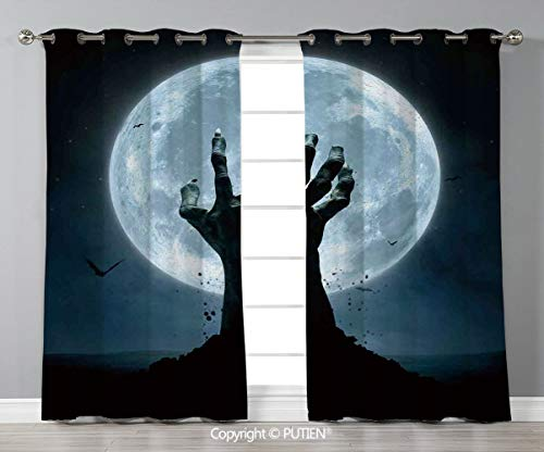 Grommet Blackout Window Curtains Drapes [ Halloween Decorations,Zombie Earth Soil Full Moon Bat Horror Story October Twilight Themed,Blue Black ] for Living Room Bedroom Dorm Room Classroom Kitchen Ca -