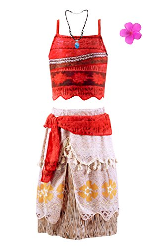 Okidokiyo Princess Moan Adventure Outfits Costume Party Dress For Girl (7-8 Years, Red)