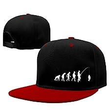 Evolution Fishing Hip Hop Baseball Caps Comfortable Flat Bill Plain Snapback Hats Red