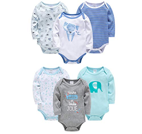 kavkas Baby Long Sleeve Bodysuits Pack Infant Boy Girl Soft Cotton Onesies Newborn Clothes Outfits, 6 Pack(0-12Months)