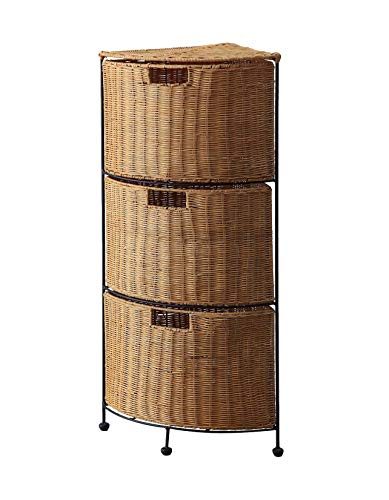 4D Concepts 161054 3 Tier Wicker Corner Drawer, 3 Drawer (Wicker Drawer Large Units)