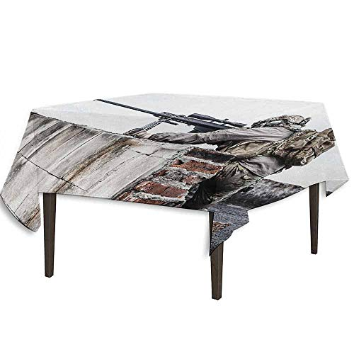 kangkaishi Military Leakproof Polyester Tablecloth Army Sniper Warrior Targeting on Roof During The Operation Commando Task Theme Dinner Picnic Home Decor W36.2 x L36.2 Inch -