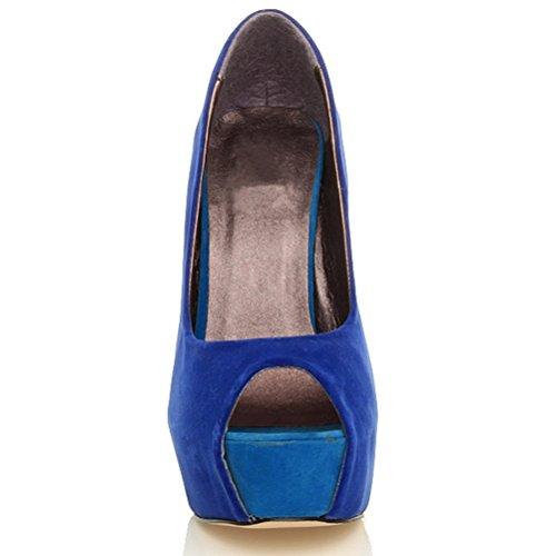 Damen Party Plateau Peep Toe Pumps Hoch Absatz Klassiker Schuhe Größe Blau Multi