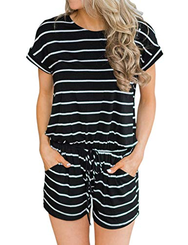 ANRABESS Women's Summer Short Sleeve Striped Jumpsuit Rompers with Pockets Short Pant Rompers Playsuit Black+White-M BYF-35