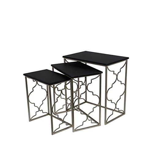 Privilege Contemporary Black Iron Nesting Tables (Set of 3) (Italian Marble Coffee Table compare prices)