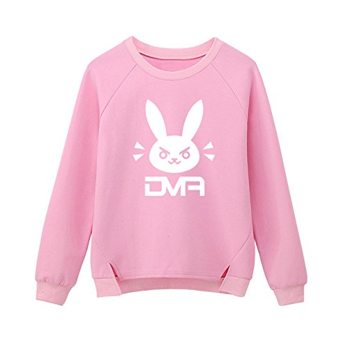 Rabbit Kids Sweatshirt - DAZCOS Pink Blue Sweatshirts Print Rabbit Bunny Girl Long Sleeve Cotton T-Shirt (Women S-M, Rabbit Pink)
