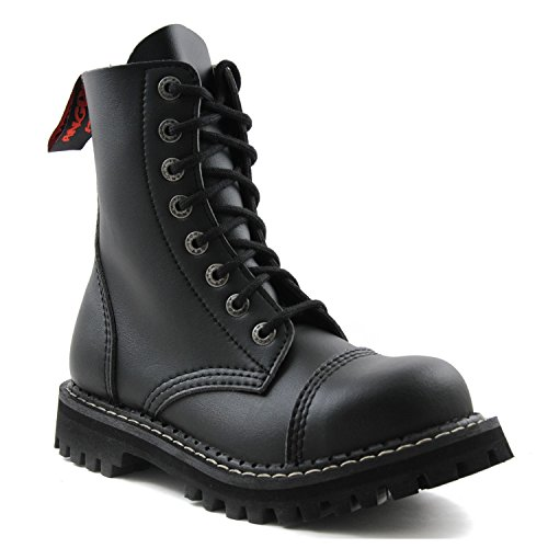 ANGRY ITCH 8-Loch Gothic Punk Army Ranger Armee Schwarze vegane Stiefel mit Stahlkappe 36-48 - Made in EU!