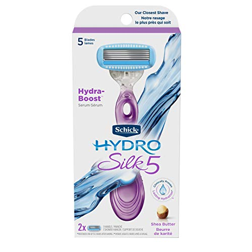Schick Hydro Silk Razor for Women, Includes 1 Razor Handle and 2 Moisturizing Razor Blade Refills