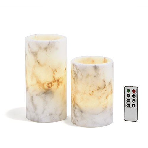 Marble Flameless Large Pillar Candles, Set of 2, Warm White LEDs, Black & White Wax Blend, Remote and Batteries Included
