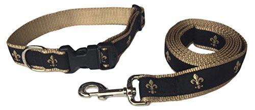 Preston Fleur De Lis Dog Collar and Leash Set in Black and Gold Ribbon on Gold Nylon Webbing (Medium) (Saints Dog Harness)