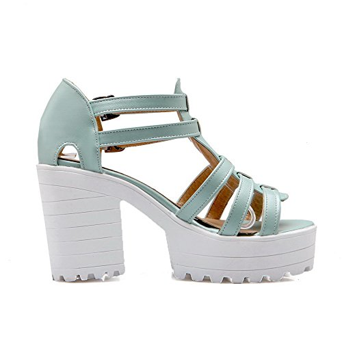 Blue High Women's Toe Heels Sandals Solid Buckle Open Pu AgooLar 4qzFH
