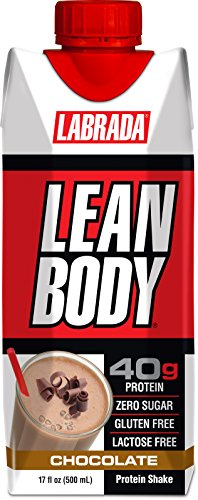 LABRADA NUTRITION - Lean Body RTD Whey Protein Shake, Convenient On-The-Go Meal Replacement Shake for Men & Women, 40 grams of Protein - Zero Sugar, Lactose & Gluten Free, Chocolate (Pack of 12)