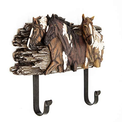 GEEKIA Wall Hanger with 2 Metal Hooks,3D Horse Heavy Duty Wall Mounted Coat Hook for Coat, Hats, Scarves, Towels (Head Hook Horse)