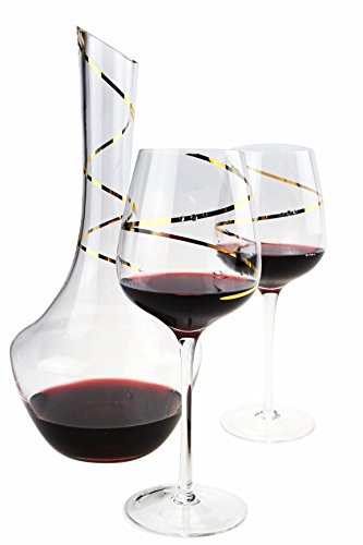 Wine Decanter, Hand Blown 100% Lead Free Crystal Clear Wine Decanter Set With 2 Wine Glasses And wine decanter (1400ml /48oz)Gifts for Valentine's Day 48 oz(1400ML) by Selenaper