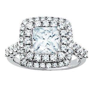 (1.70CT ENGAGEMENT PRINCESS CUT DIAMOND RING 14K/W)