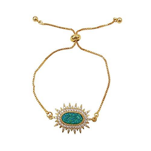 Lii Ji Natural Stone Green Blue Color Rainbow Druzy,Zircon Adjustable Sparking Bracelet With Nice Box (Gold)