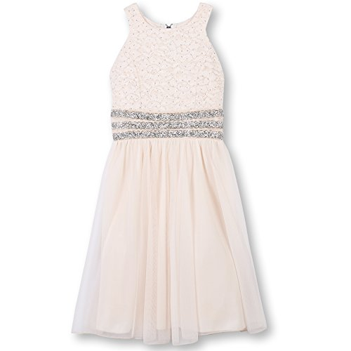 Speechless Girls' Big High Neck Party Dress with Sparkle Waist, Pale Blush, 14