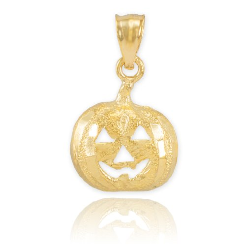 14k Yellow Gold Jack O'Lantern Charm Halloween Pumpkin Pendant 14k Yellow Gold Jack O-lantern