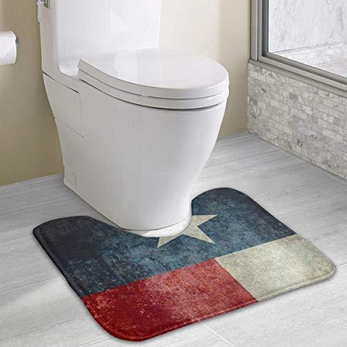 Beauregar Texas State Flag Contour Bath Rugs,U-Shaped Bath Mats,Soft Polyester Bathroom Carpet,Nonslip Toilet Floor MatMachine Wash, 19.2″x15.7″