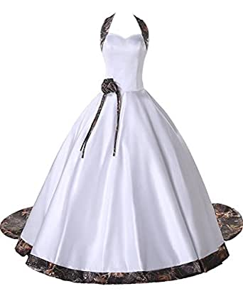 iLovewedding White Camo Long Wedding Dresses Halter Bridal Gowns With Detachable Train(Camo 24W)