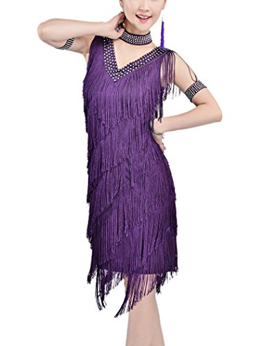(Whitewed Bead Roaring 20s 1920 Flapper Inspired Style Theme Dress Costume Purple, Purple, 4 /)