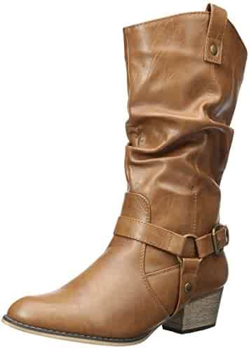 cd787e65086e DailyShoes Women's Slouch Mid Calf Ankle Strap Buckle Western-01 Style  Cowboy Boots