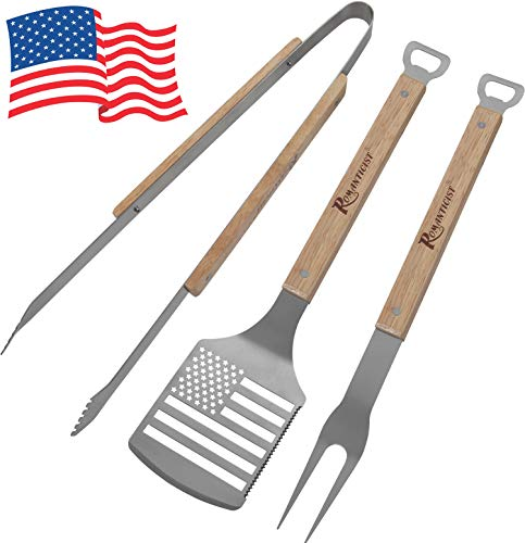 ROMANTICIST 3pc Heavy Duty BBQ Grilling Tools Set - Extra Thick Stainless Steel Spatula Fork Tongs for Barbecue & Grill - Perfect BBQ Grill Gift for Men Dad on Fathers Day