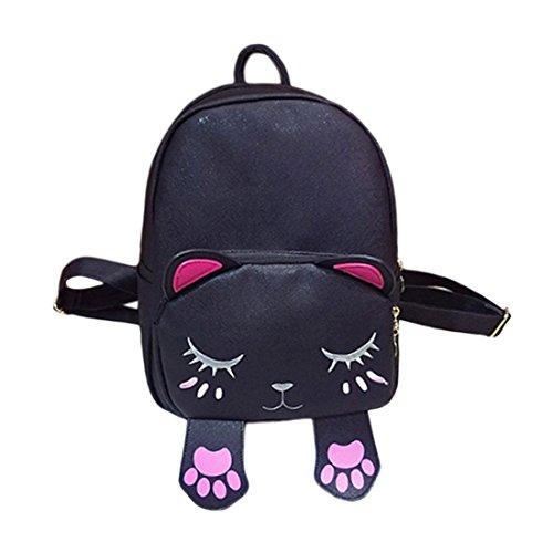 Damen Frauen Mädchen Katze Fußspur PU Leder Schultasche Tasche Handtaschen Rucksäcke Schwarz Eh3c55M6fK