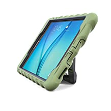 Gumdrop Cases Samsung Galaxy Tab A 8.0 - Hideaway with Stand - Army Green - Black - Silicone - Rugged Shock Absorbing Protective Dual Layer Cover Case